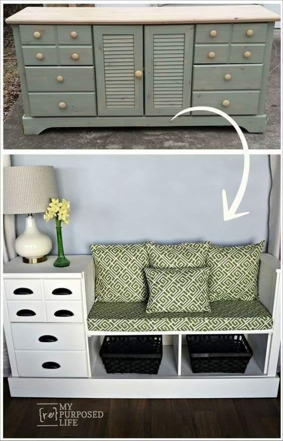 Idéias para você reciclar a sua cômoda antiga.