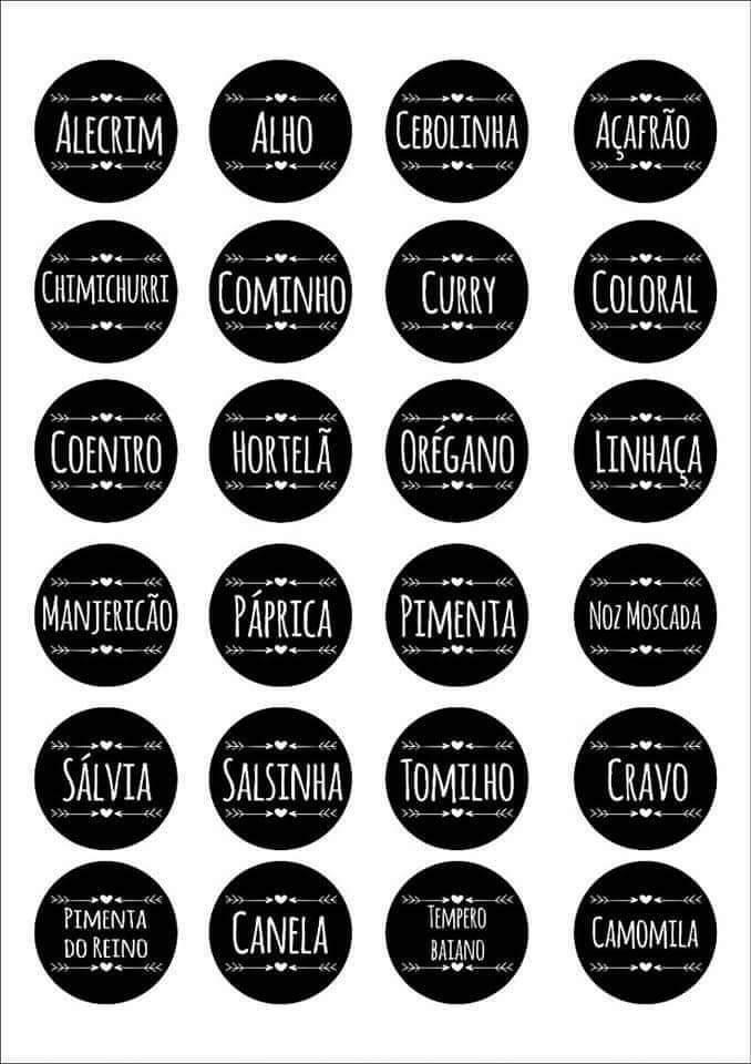 Etiquetas de temperos para imprimir