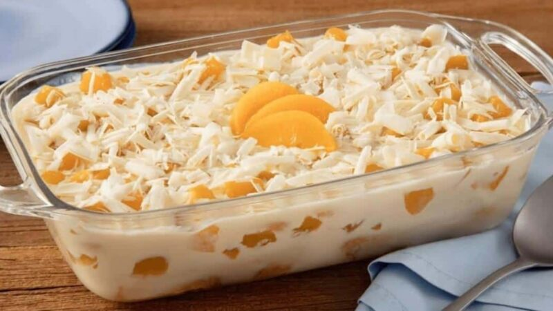 Mousse de pêssego com gelatina